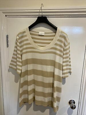 Cotswold Collections Ladies T-Shirt Jumper Fawn/white Size 3XL • 2.99£