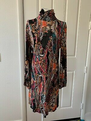 AU20.96 • Buy Women Free People Colorful Paisley Long Sleeve Dress Size M