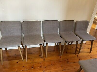 AU300 • Buy 8 Schots Grey Linen Dining Chairs