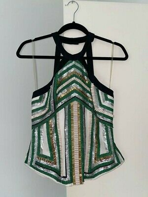 AU60 • Buy Sass And Bide Green Sequin Halter Top Size 10