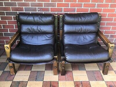 AU900 • Buy 1970s Iconic NORE Vintage Retro Leather Lounge Chairs