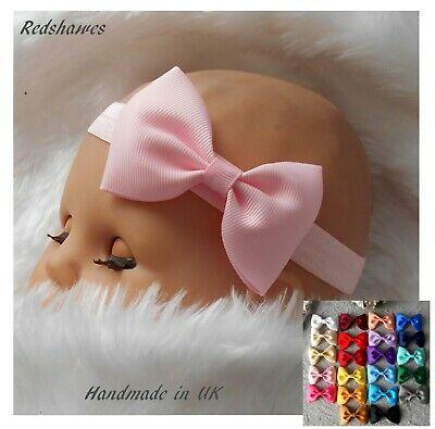 Baby Headband With 7.5cm Bow Soft Elastic 1st CLASS Wedding Christmas UK Made • 2.35£