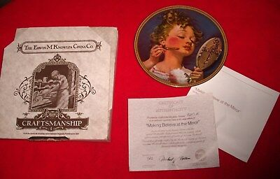 $ CDN12.52 • Buy Mib Norman Rockwell Plate Rediscovered Women MAKING BELIEVE AT MIRROR Coa 4th #d