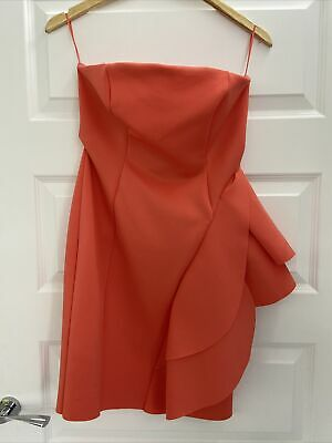River Island Pink Coral Fitted Ruffle Mini Dress Size 12 New With Tags • 12£