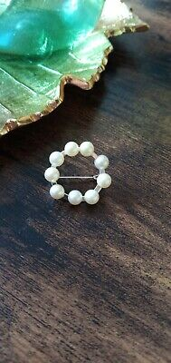 Vintage Small Faux Pearl Circle Silver Tone Brooch • 3.99£