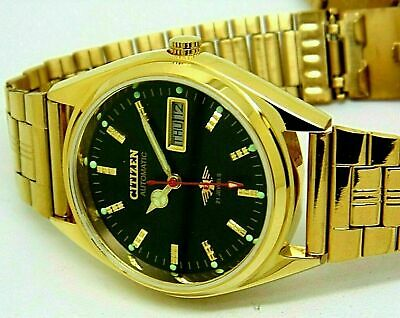 £21.99 • Buy Citizen Automatic Men's Gold Plated Day/date Vintage Black Dial Japan Watch Run