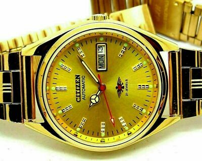£21.99 • Buy Citizen Automatic Men's Gold Plated Day/date Vintage Golden Dial Japan Watch Run