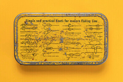 $ CDN25.11 • Buy Antique Collectable Tin Fishing Lure Box With Fishing Knots Display