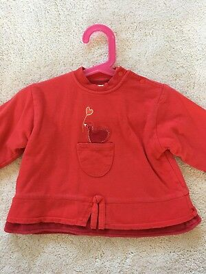 Marese Red Long Sleeve Sweat Top Age 12M • 3.50£