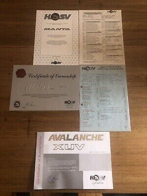AU195 • Buy Hsv Compendium Certificates Vs Manta Vu Maloo Avalanche V8 Ls1 5.0 185i