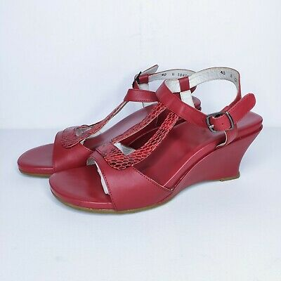 AU40 • Buy ZIERA Torch Size 40 W  Red Wedge Strap Sandal Snakeskin Comfort
