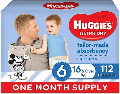 AU84.43 • Buy Ultra Dry Nappies Boy Soft Comfy Fit Size 6 (16kg+) 1 Month Supply 112 Count
