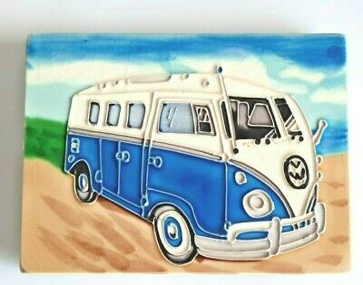 £11.99 • Buy Camper Van Blue White Split Screen Ceramic Tile Wall Or Standing Art 20 X 15 Cm