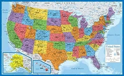 AU13.79 • Buy USA Map - - Wall Chart Map Of The United States Of America  18  X 29  Laminated