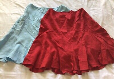 2 X Linen Knee Length Godet Skirts By Next, Blue & Red, Size 18 & 20, BRAND NEW • 8£