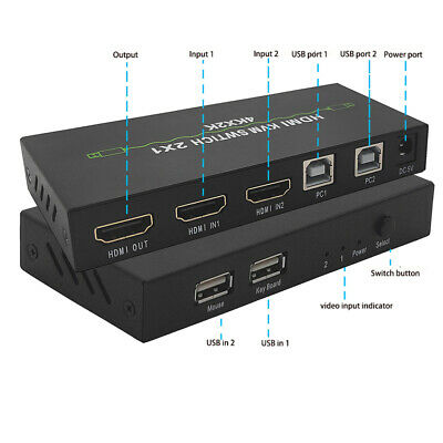 AU30.18 • Buy Dual-port KVM Switch Switcher USB 4KX2K 2 In 1 Out 60Hz Smart Digital Portable