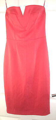River Island Coral Strapless Dress Size 10 • 5£