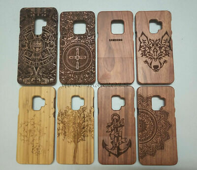 AU17.38 • Buy Natural Engraved Bamboo Case Wood Fitted Cover For Samsung Galaxy S9+ Plus