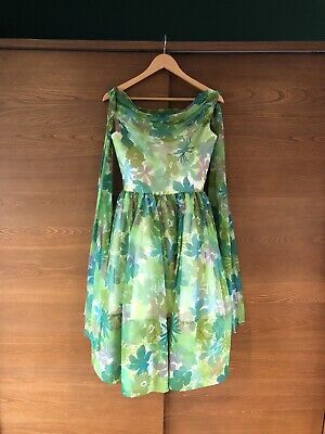 Vintage, Floral, Full Circle, 1950s Style Dress With Net Petticoat - Size 8 • 0.99£