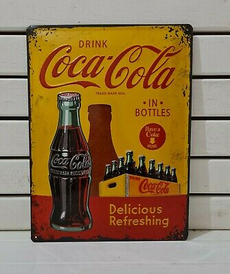 £19.95 • Buy Coca Cola Yellow Crate Metal Man Cave LG Sign. Shabby Chic Retro Sign Home Bar