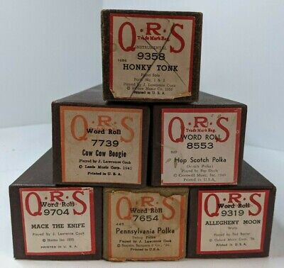 $ CDN31.27 • Buy Lot Of 6 Vintage QRS Player Piano Word Rolls - Excellent Condition