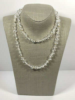 Vintage Beaded Necklace Clear Faceted Plastic Pretty Kitsch Costume Jewellery  • 8.99£