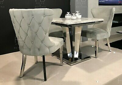 £1014.99 • Buy Rio 80cm Grey/Black Square Marble Dining Table Chrome Base New