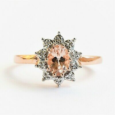 AU350 • Buy Natural Morganite Ring Genuine Diamonds 9k Rose Gold 4 Sizes Available Boxed New