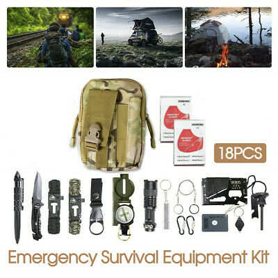 AU29.49 • Buy Emergency Survival Equipment Kit Outdoor Tactical Hiking Camping SOS Tool 18Pcs