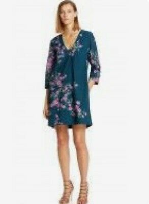 AU59.99 • Buy Scanlan Theodore Green & Pink Floral Broderie Anglaise 3/4 Sleeve Dress Size 12