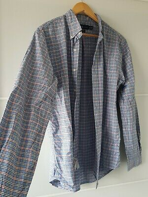 £30 • Buy Ralph Lauren Mens Slim Fit Oxford Stretch Large Blue And Red Check Gingham Shirt