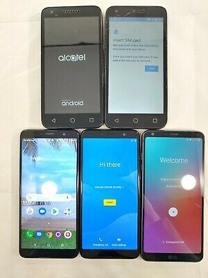 $ CDN1.57 • Buy LOT Of 5 Assorted GOOGLE LOCKED Smartphones 2 TCL-A503DL  1 LG G6  Alcatel A084L