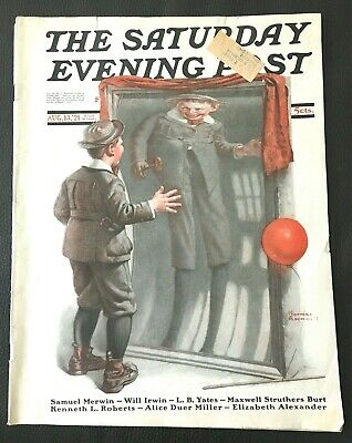 $ CDN18.46 • Buy Saturday Evening Post August 13, 1921 Norman Rockwell Fun House Mirror Complete