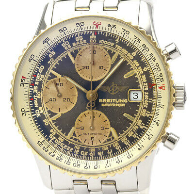 £2686 • Buy Polished BREITLING Old Navitimer 18K Gold Steel Automatic Watch D13022 BF527517