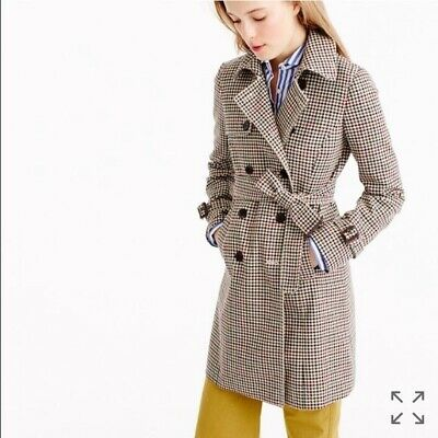 AU258.50 • Buy J Crew Beige Houndstooth Wool Trench Coat Jacket Women's 00 XXS XS 0