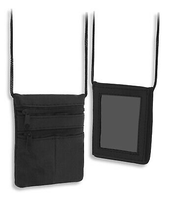 £5.22 • Buy Black Leather Neck Pouch Wallet Purse Air Rifle Pellets Holder Coins Id Window