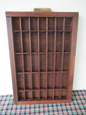 AU76.12 • Buy Antique Type Tray Printers' Drawer Shadow Box 35 Sections HAMILTON Brass Handle