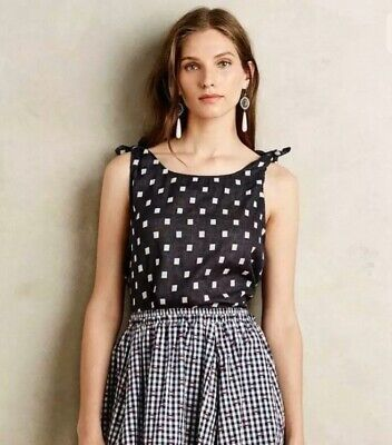 $ CDN1.24 • Buy Harlyn Anthropologie Small Black & White Crop Top Button Back Tank! #3038