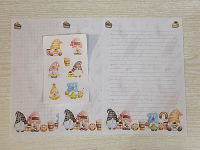 £4.75 • Buy Coffee Gonks / Gnome Stationery, 25 Sheet Letter Writing Paper & 6 Stickers Set