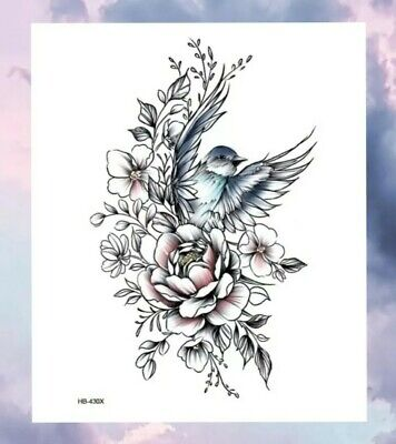 £2.49 • Buy BEAUTIFUL SKETCHED BIRD Temporary Tattoo 🇬🇧 A5 Large Adult Body Art Flowers 🌿
