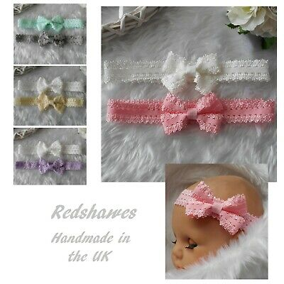 £2.99 • Buy 2 Newborn Baby Headbands Lace Pink White Ivory Blue Bow Christening All Sizes