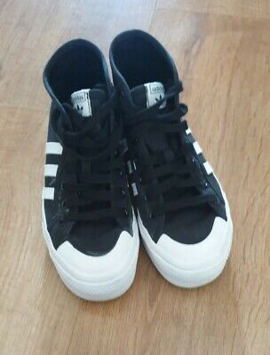 $ CDN25.06 • Buy Adidas Black Canvas Hi-tops Size 4 UK