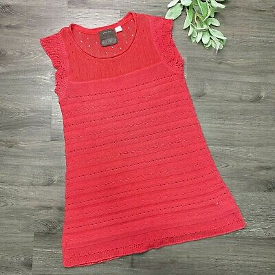 $ CDN37.58 • Buy GUINEVERE Anthropologie Red Dash Dotted Mini Sweater Dress Size Large