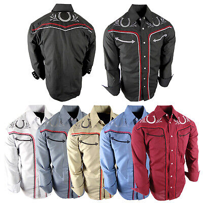 $28.95 • Buy Mens Western Rodeo Cowboy Shirt Chain Embroidered Shoulders And Back Snap Up