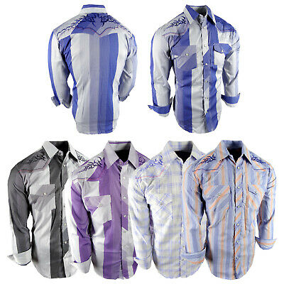 $27.95 • Buy Mens Western Cowboy Shirt Plaid Stripe Embroidery Pockets Snap Up Rodeo