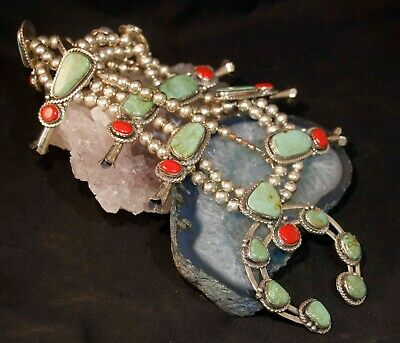 $ CDN923 • Buy Beautiful Sterling Silver Turquoise / Coral Southwestern Squash Blossom Necklace