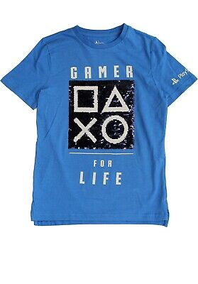£4.99 • Buy Licensed Boys PlayStation Gamer Reverse Sequenced T-Shirt Top 8-9 Years Blue