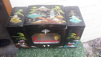 AU99 • Buy Large VINTAGE JAPANESE LACQUERED JEWELLERY BOX ~ Plays Dr. Zhivago~Hand Painted