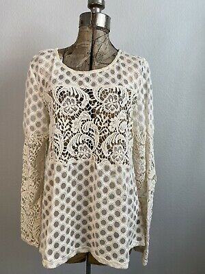$ CDN10 • Buy Anthropologie Sunday In Brooklyn Lace Interlude Long Sleeve Ivory Top Size M