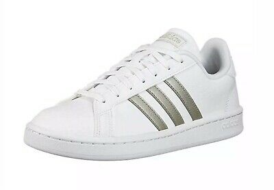 $ CDN49.98 • Buy Adidas Grand Court White Platinum Metallic Tennis Shoes F36485 Women's Size 11